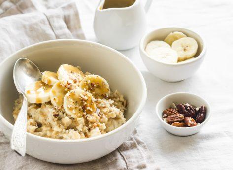 Cinnamon oatmeal banana nuts syrup