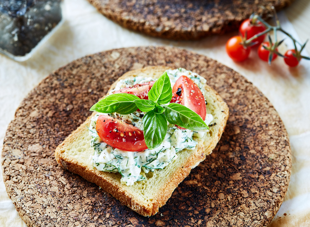 Open faced sandwich with tomato