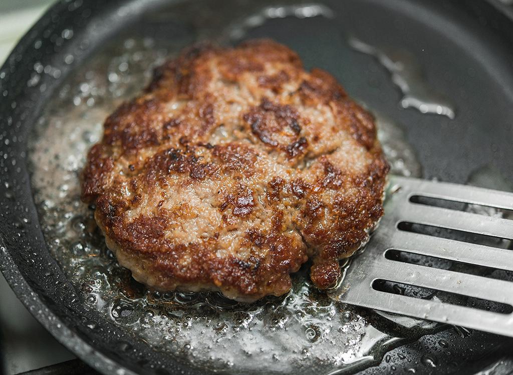 Pan fried burger patty