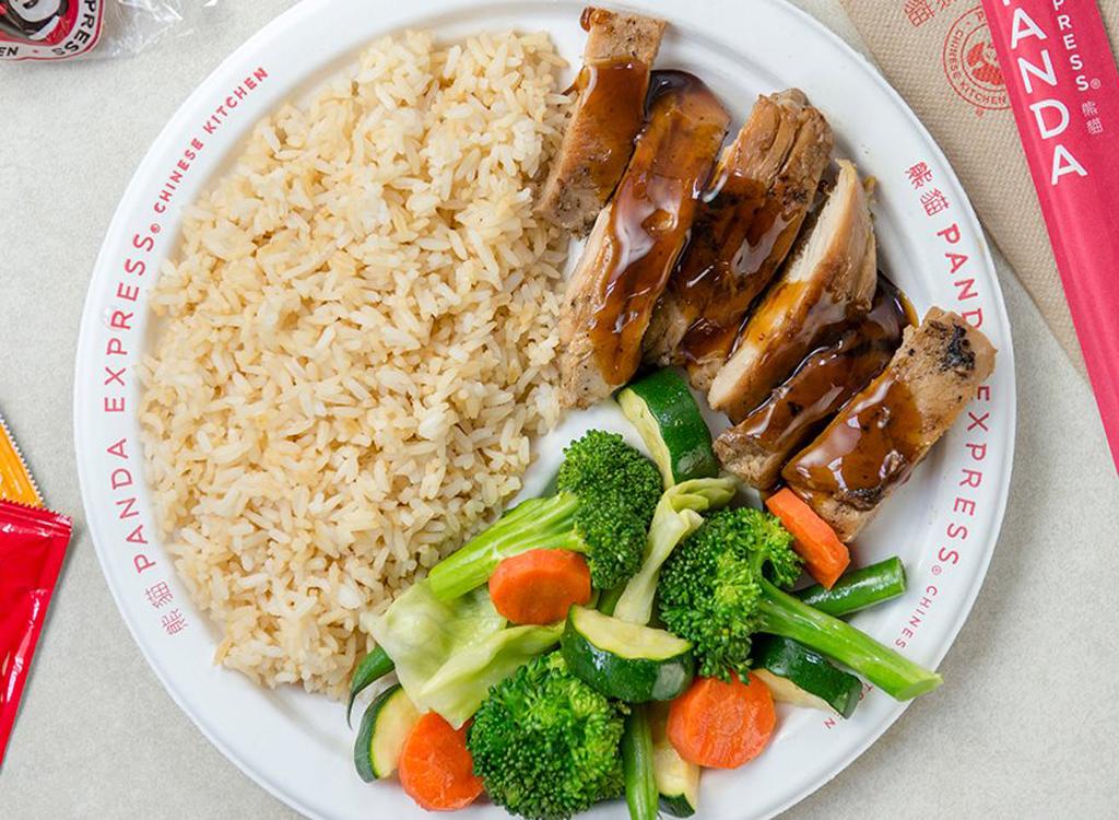 Panda express grilled teriyaki chicken mixed vegetables brown rice