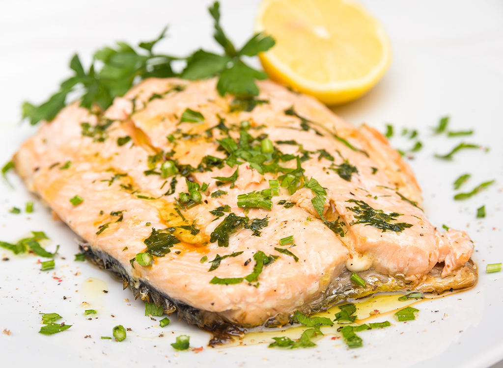 Poached salmon with lemon and herbs