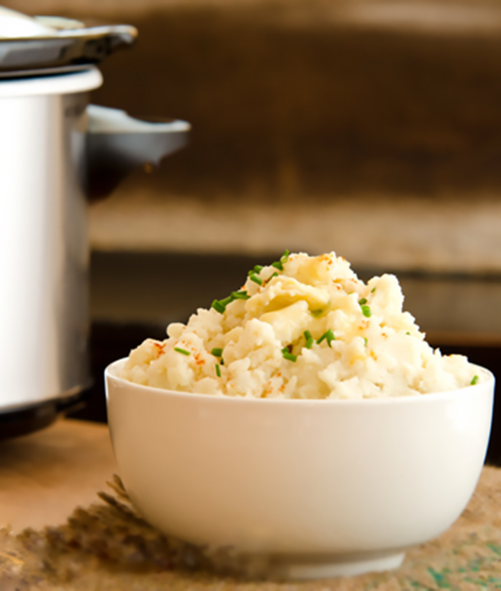 Slow cooker warmed mashed potatoes