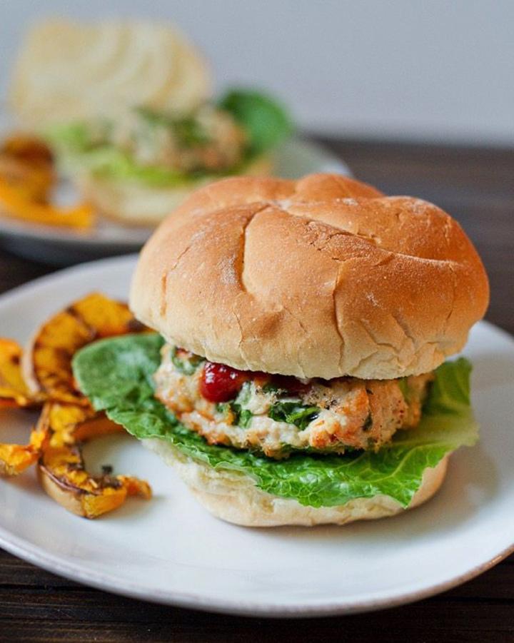 Spinach feta turkey burger