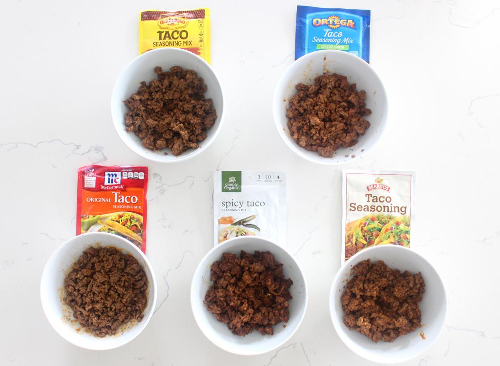 Ground beef seasoned with taco seasoning packets