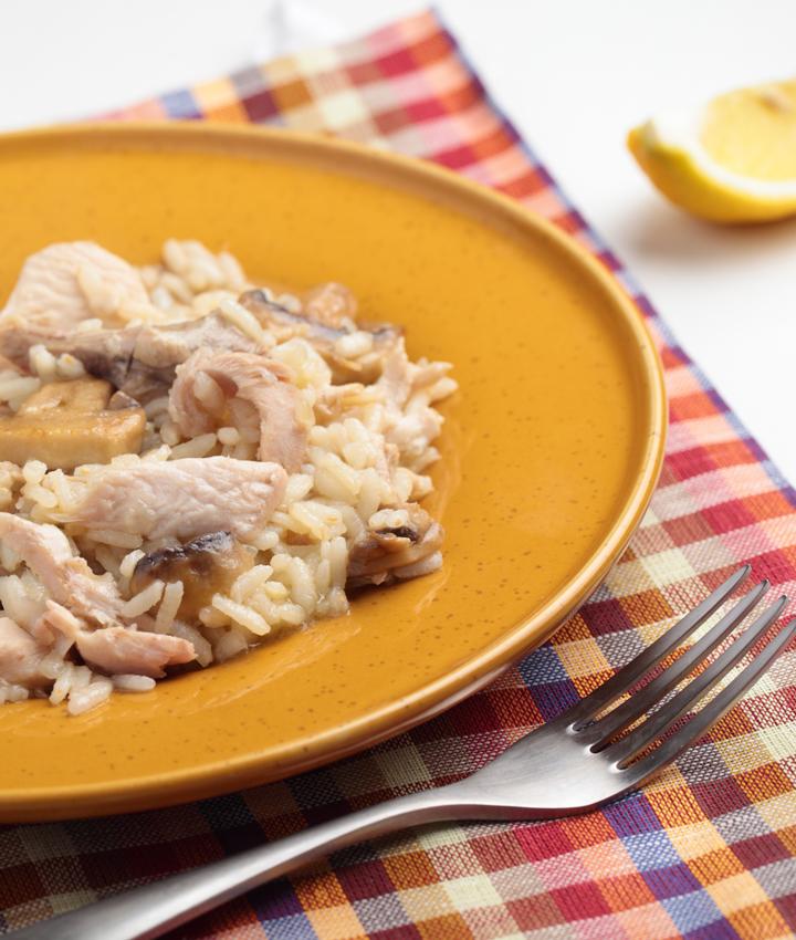 Turkey mushroom risotto
