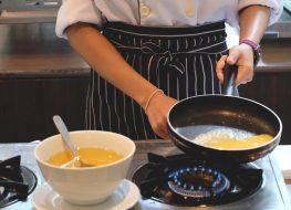Cook omelet in pan low heat