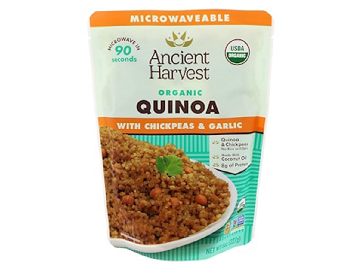Ancient harvest quinoa with chickpeas and garlic