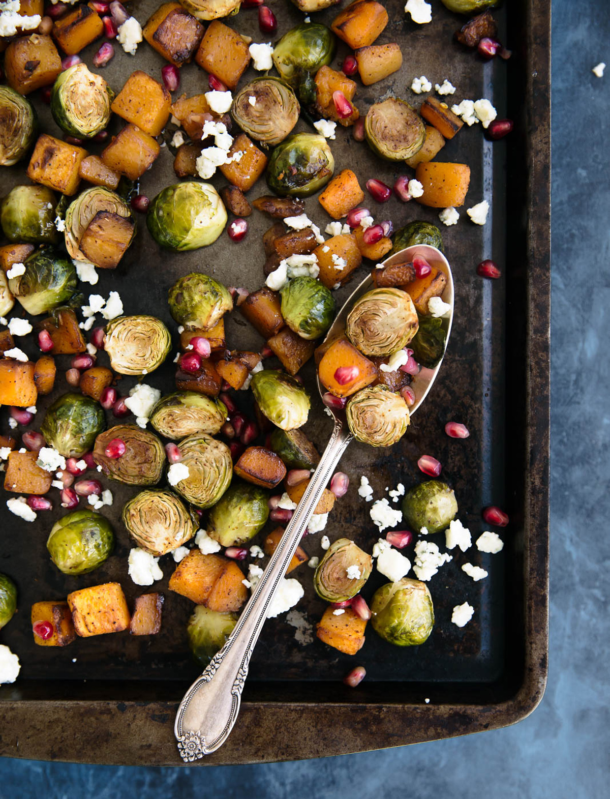 Brussels sprouts with squash and gorgonzola