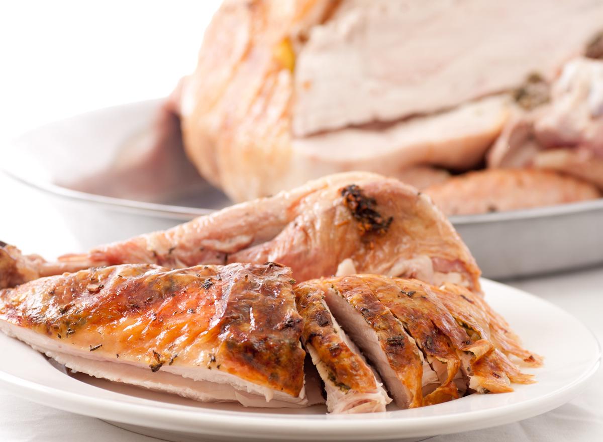 Carved roasted turkey