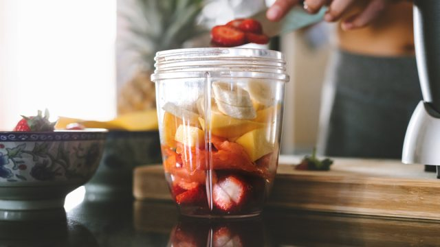 Chopped fruit in blender weight loss smoothie
