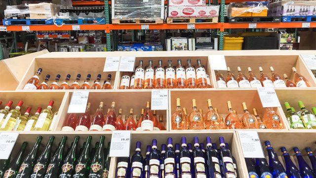 bottles of costco wine on shelves