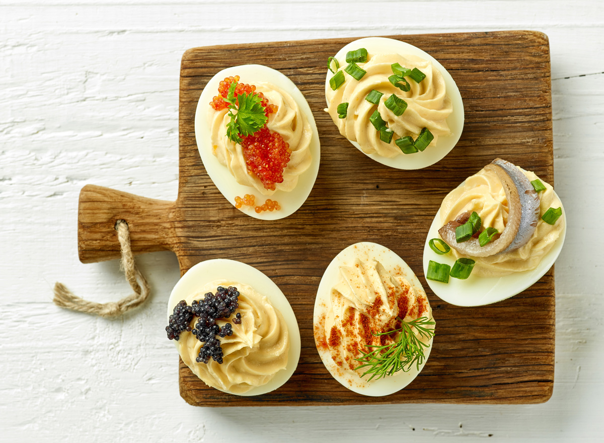 Deviled eggs with caviar and chives