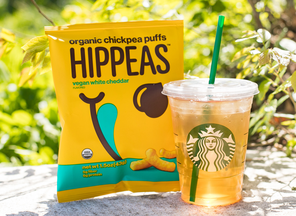 Hippeas puffs and starbucks drink