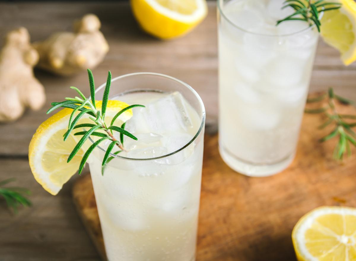 Kombucha cocktail ginger lemon rosemary