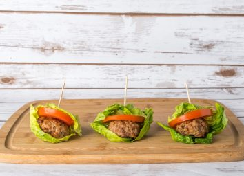 Low carb bunless burger with lettuce wrap