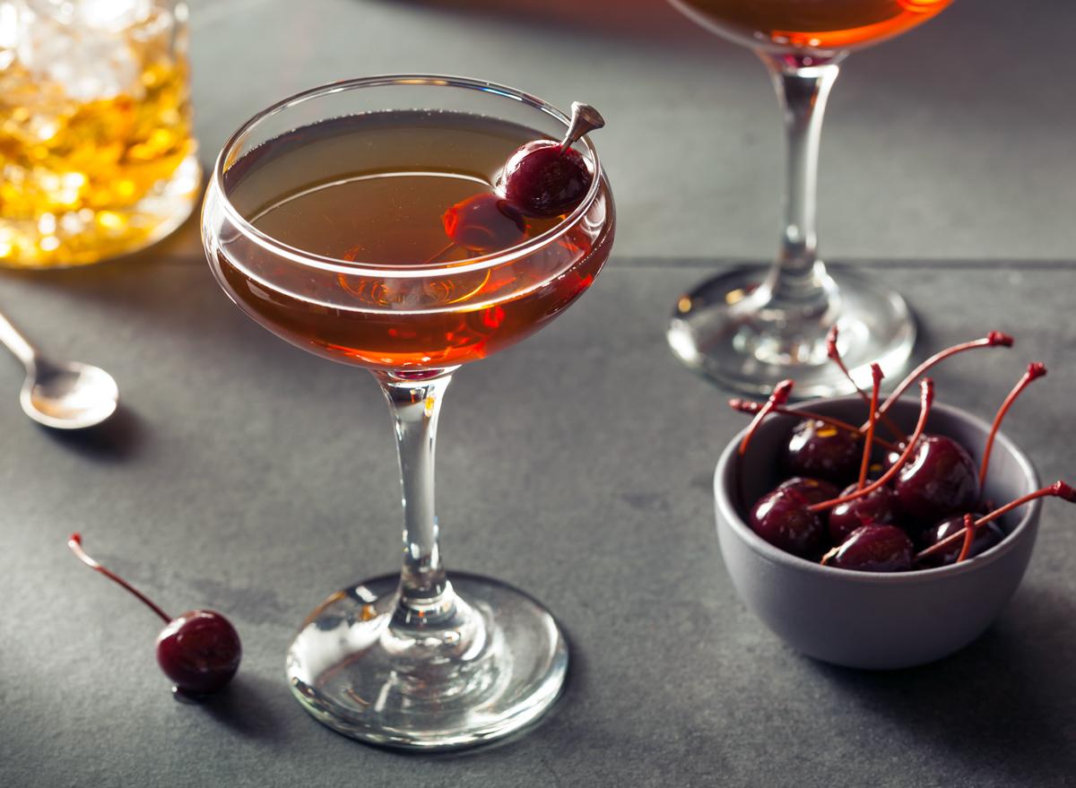 Manhattan whiskey cocktail