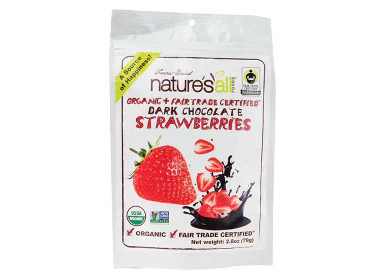 Nature's all foods dark chocolate strawberries