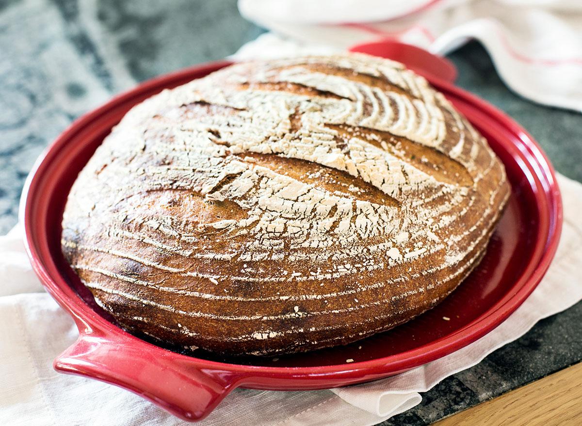 Organic sourdough bread in Dutch oven