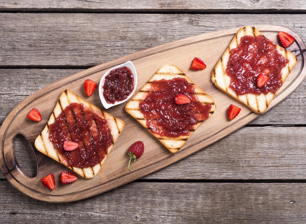 Strawberry jelly on toast