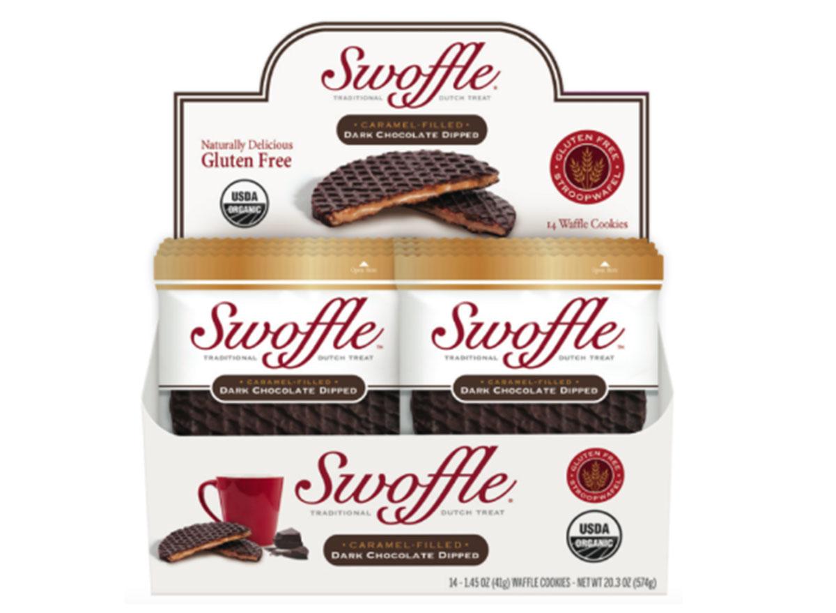Swoffle caramel filled dark chocolate dipped