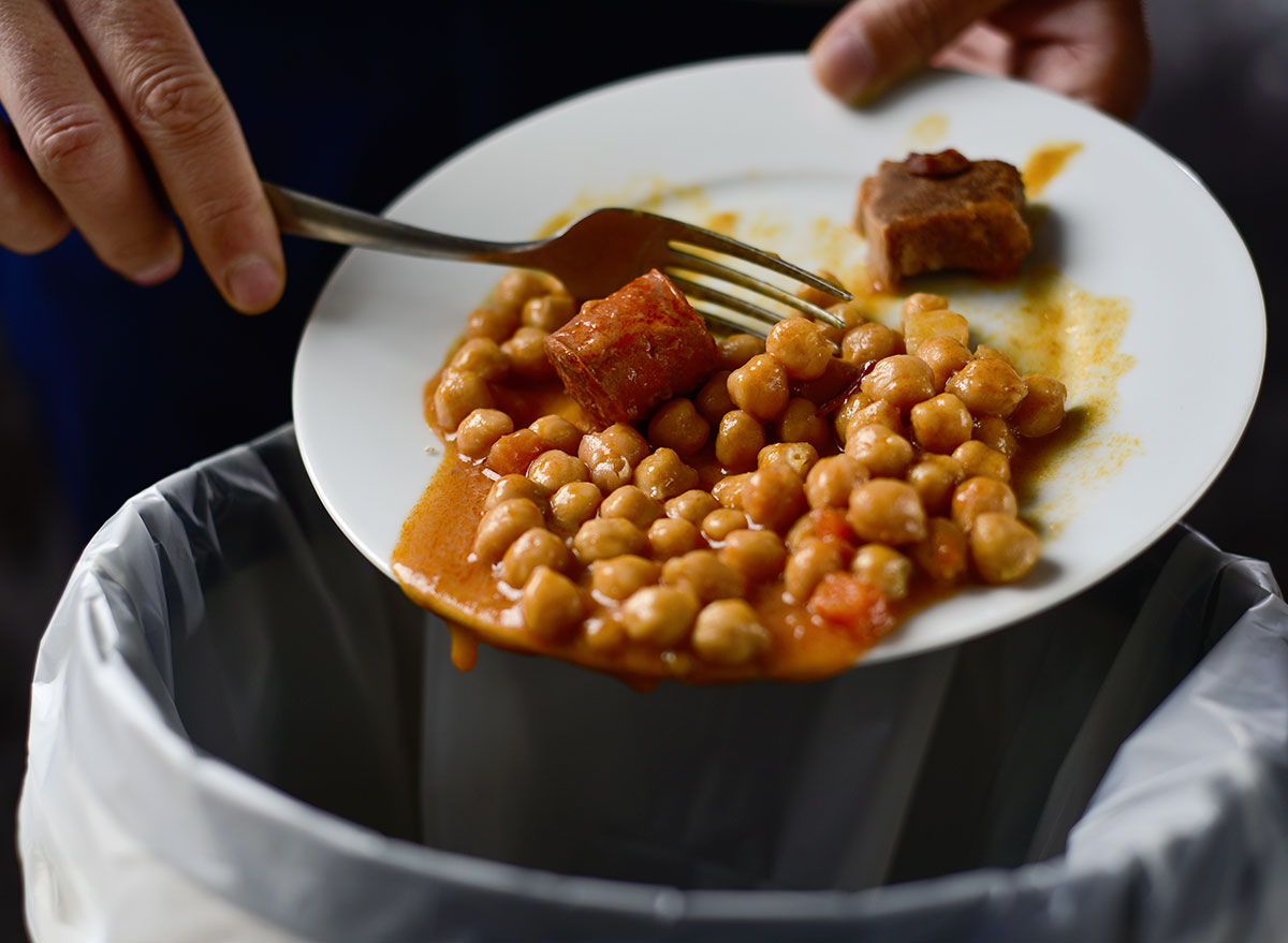 wasting food from plate