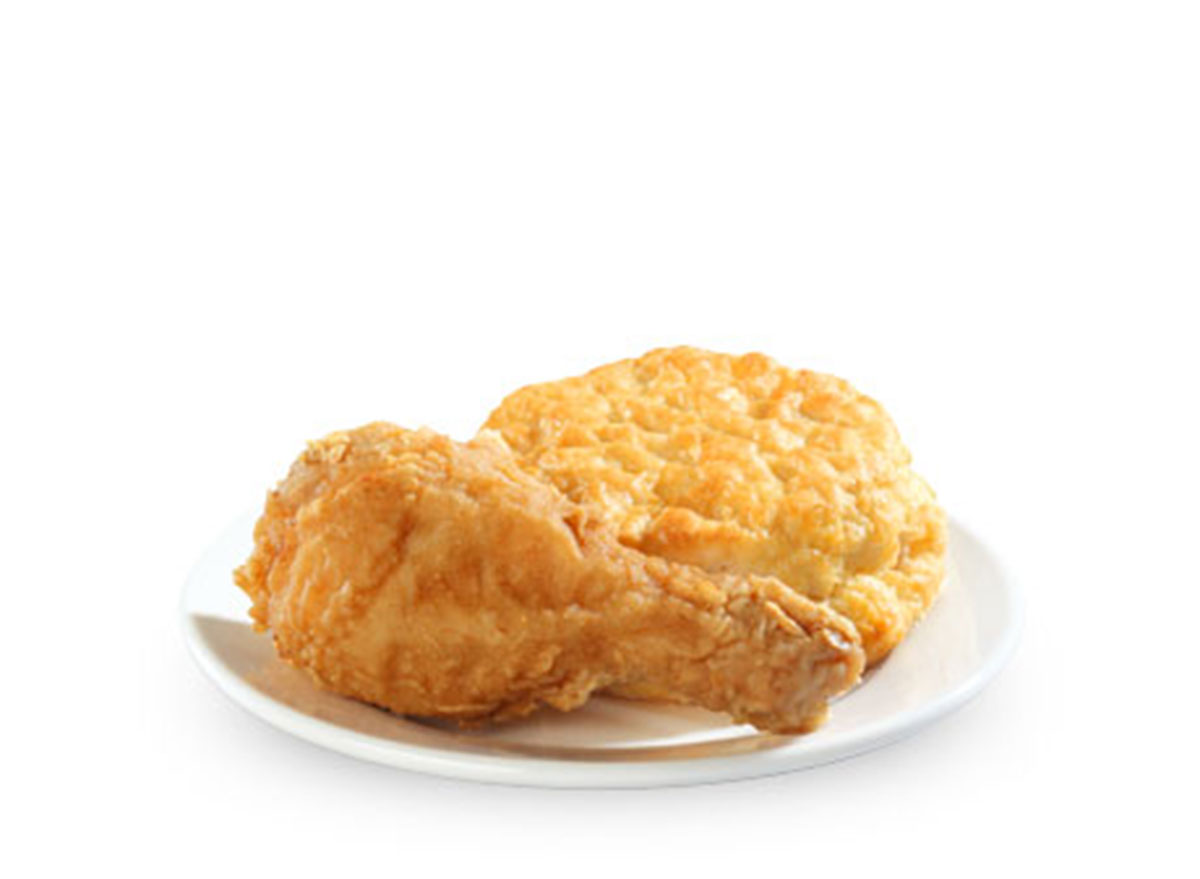 Chicken leg with biscuit