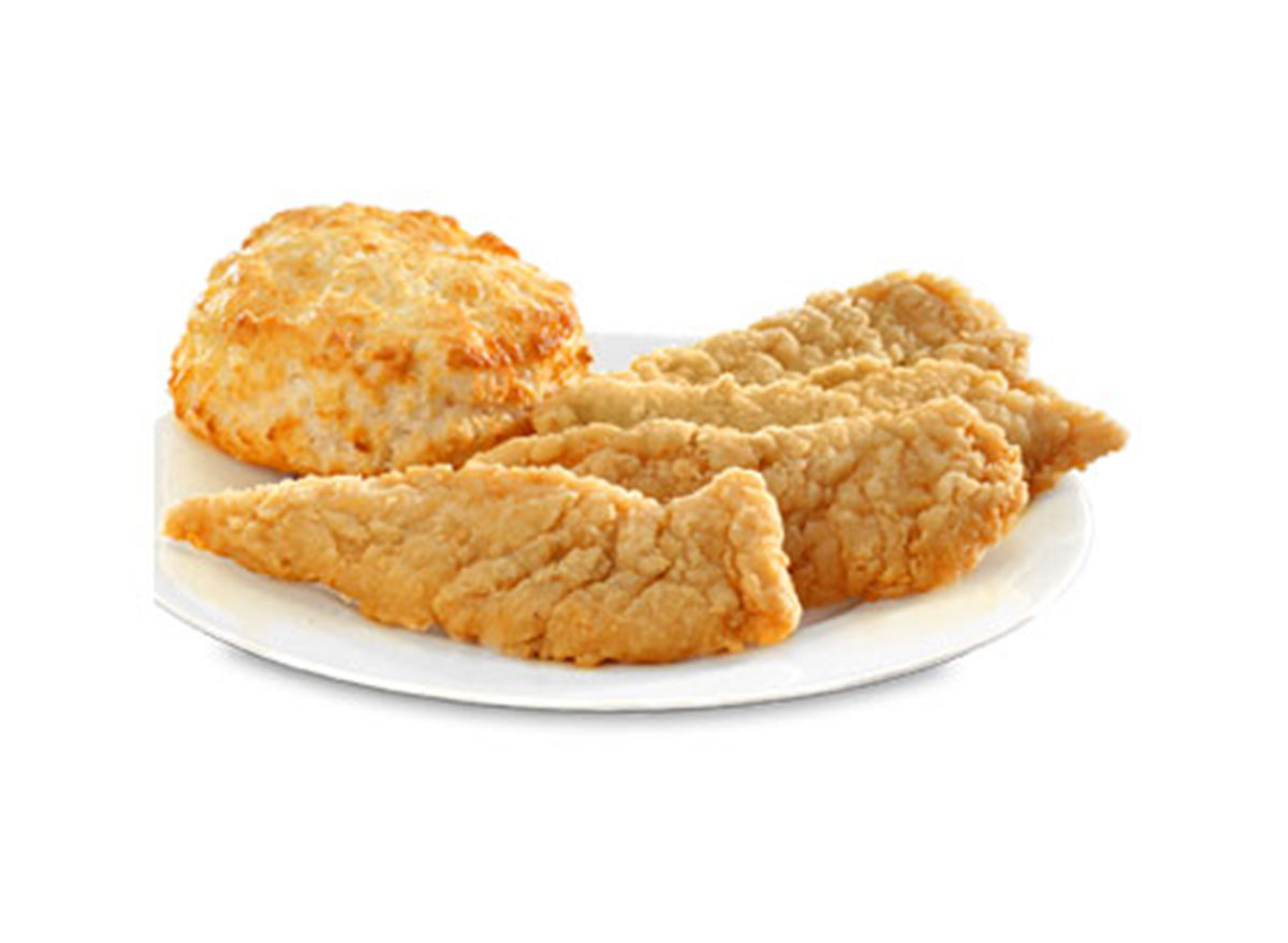 Chicken tenders with biscuit
