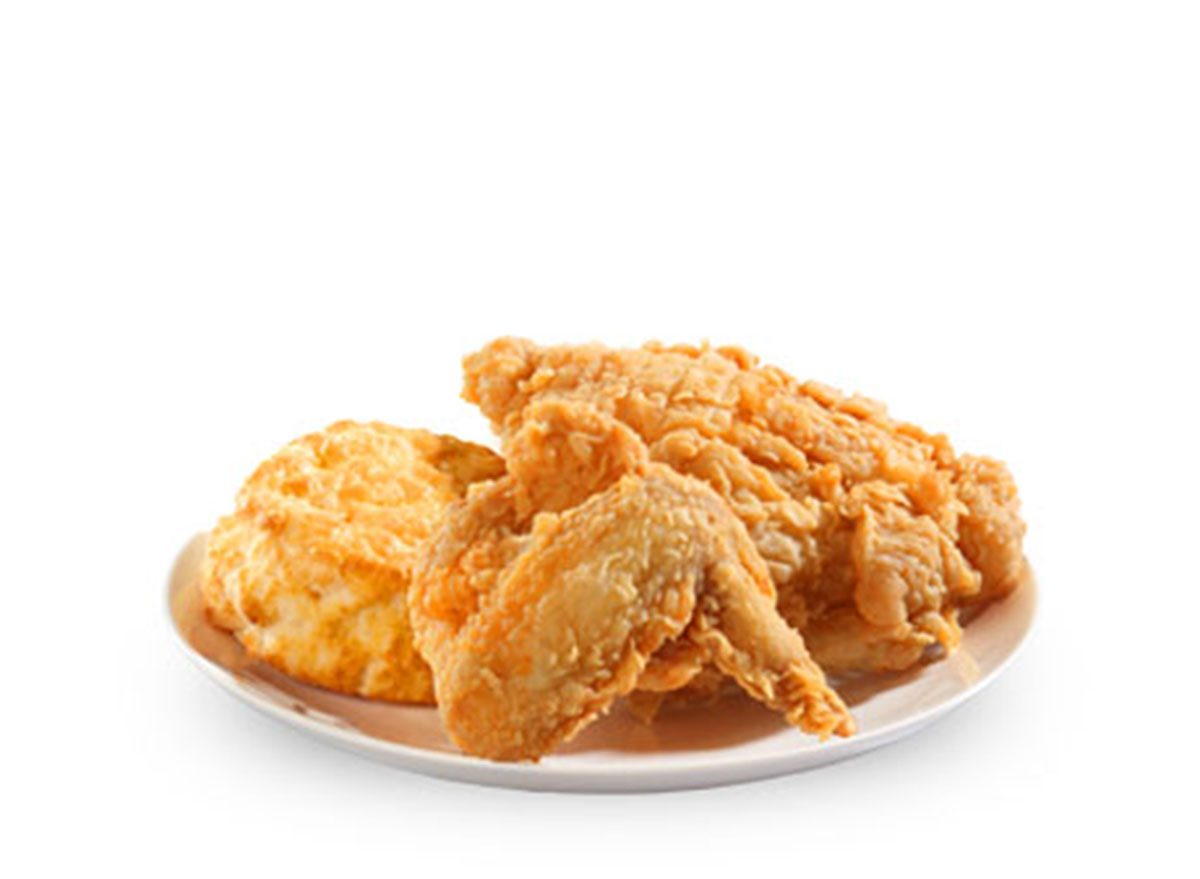 Wing and breast with biscuit