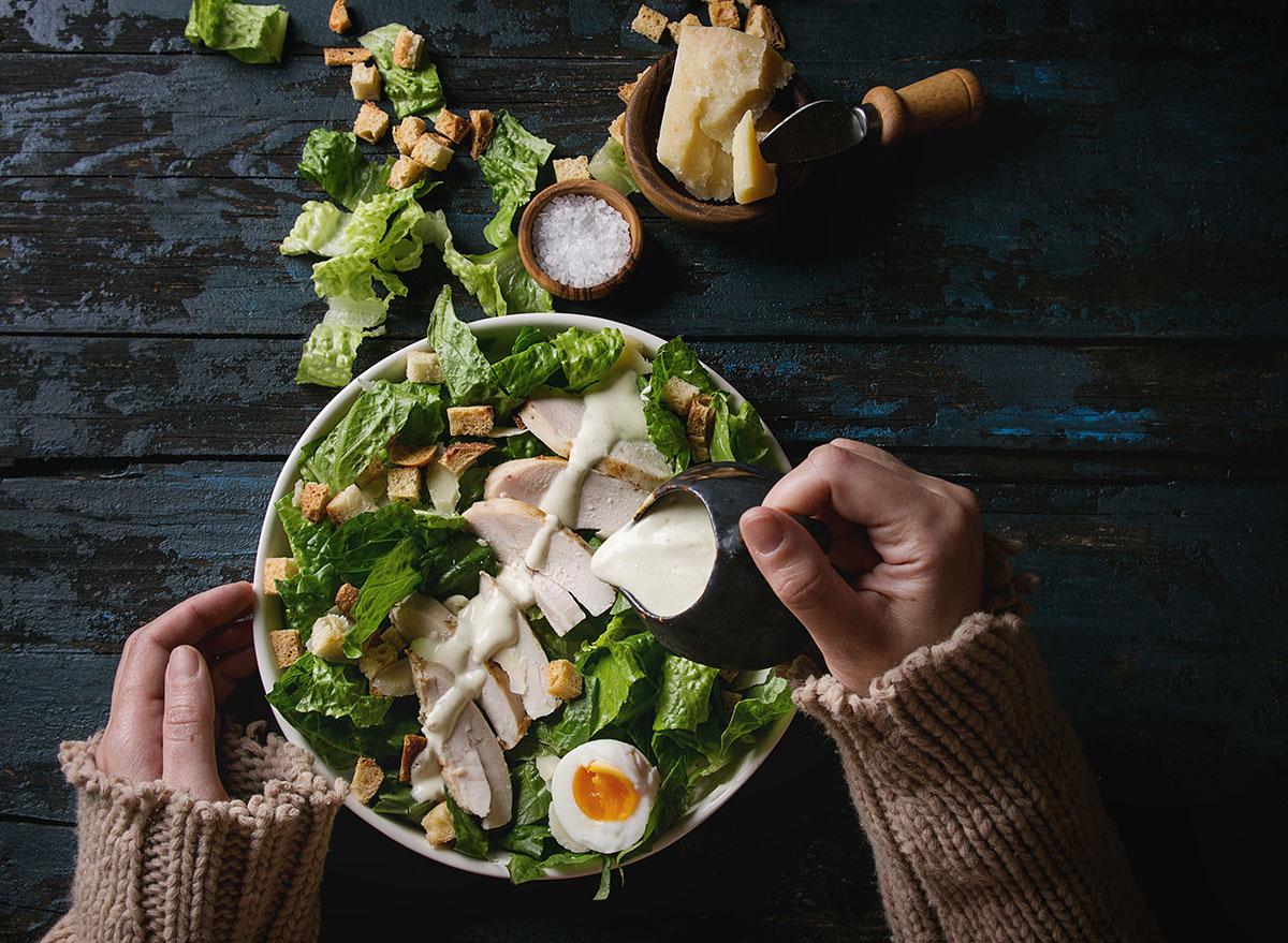 Caesar salad with dressing