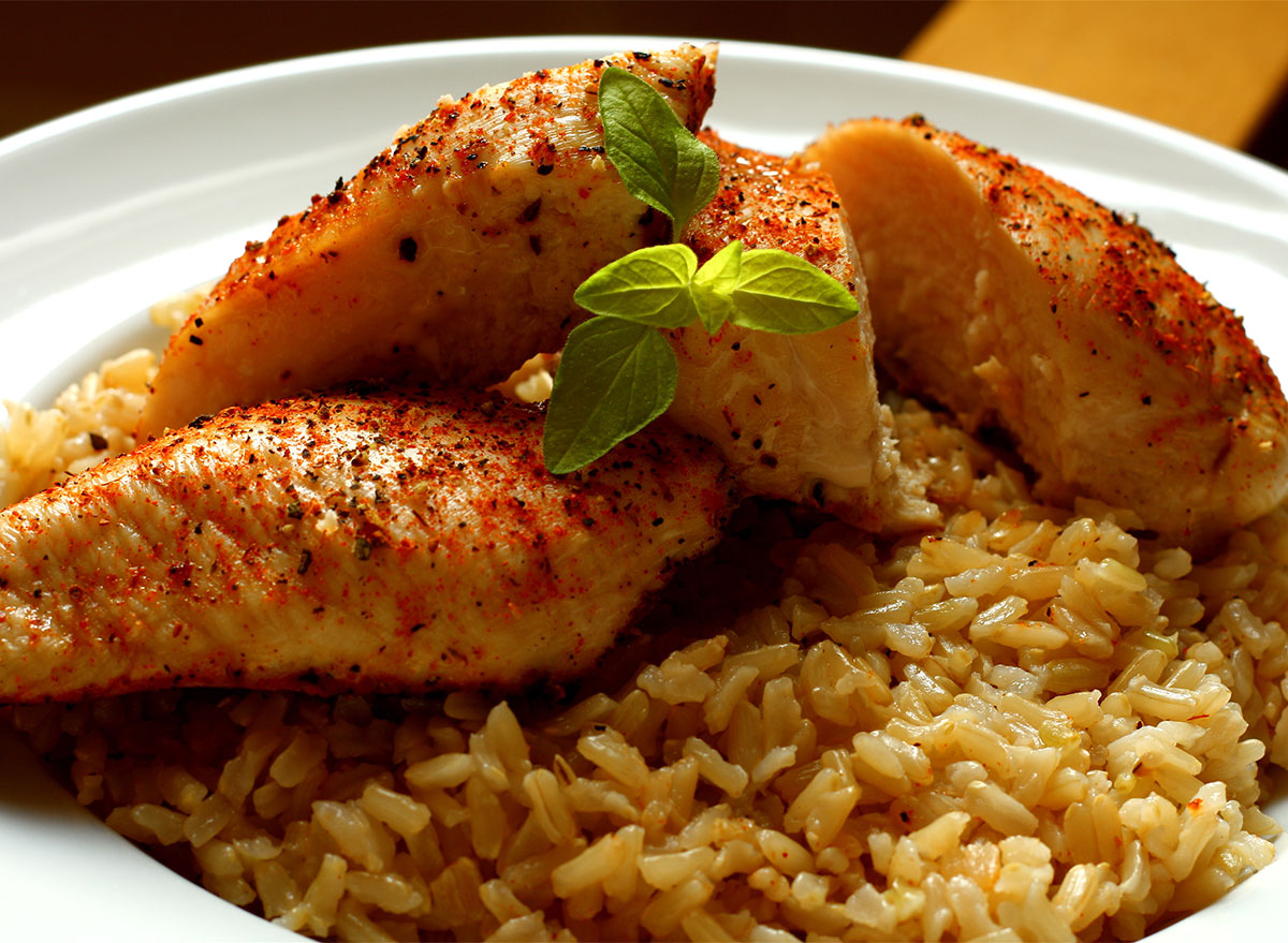 bowl of cajun chicken and rice