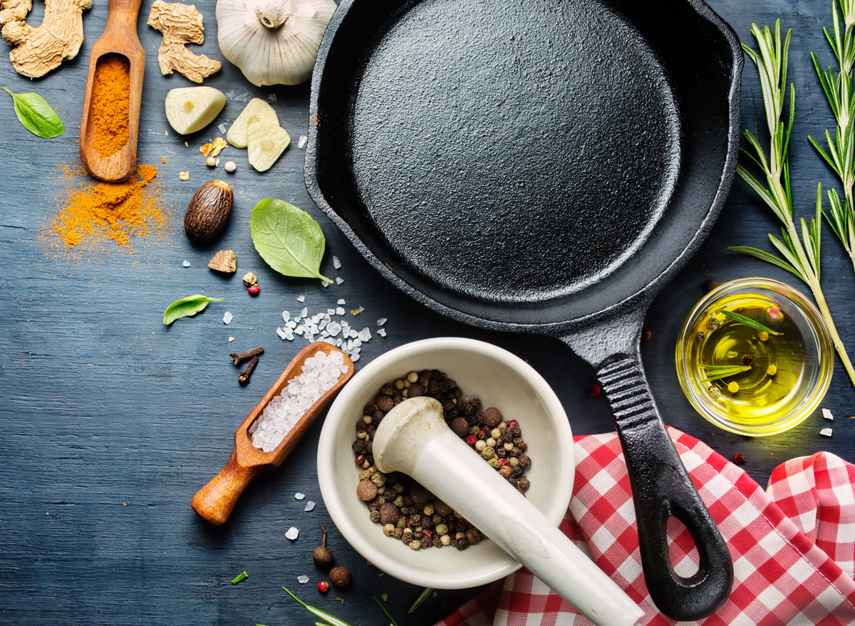 Cast iron skillet with herbs and spices