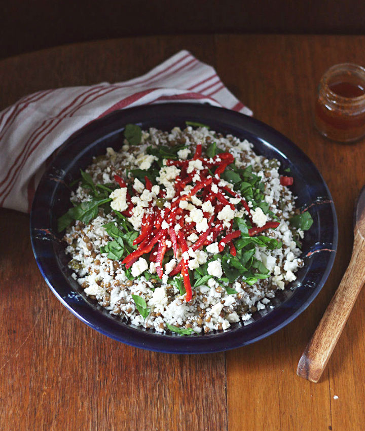 Chopped cauliflower and lentil salad with smokey chermoula