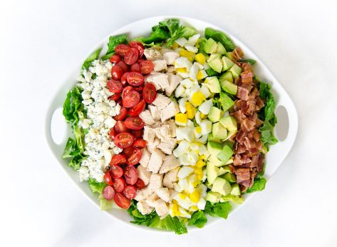 Cobb salad against white background