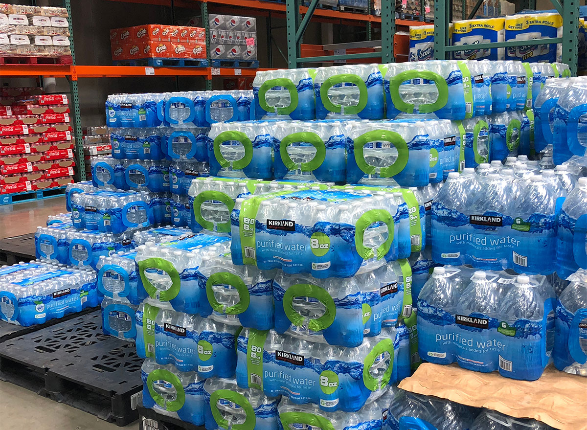 pallets of bottled water from Costco