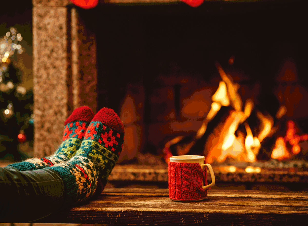 Crackling fire with holiday socks