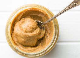 Creamy peanut butter in jar