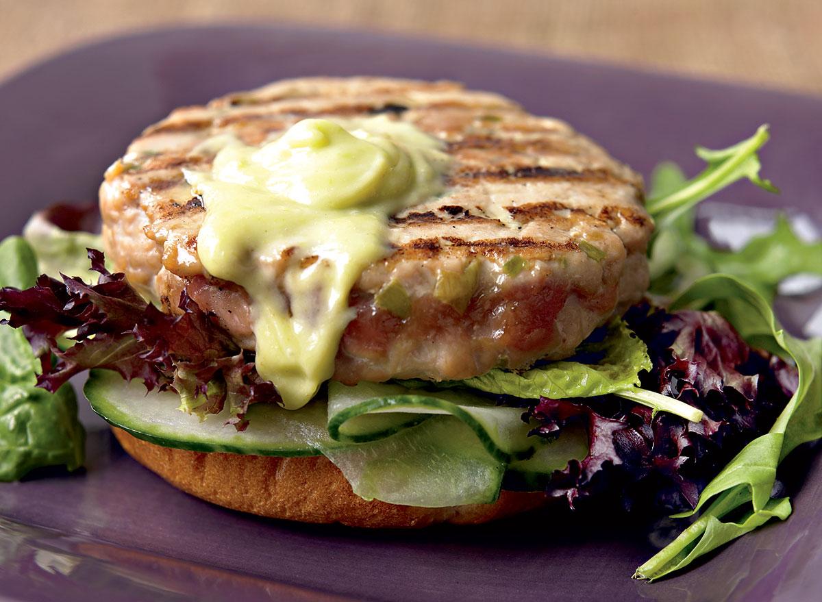 Asian tuna burgers with wasabi mayo