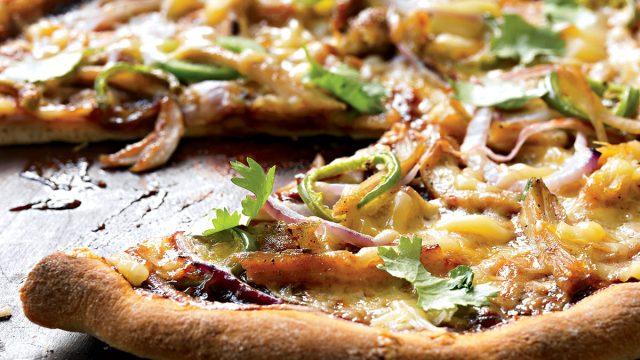 Healthy barbecue chicken pizza