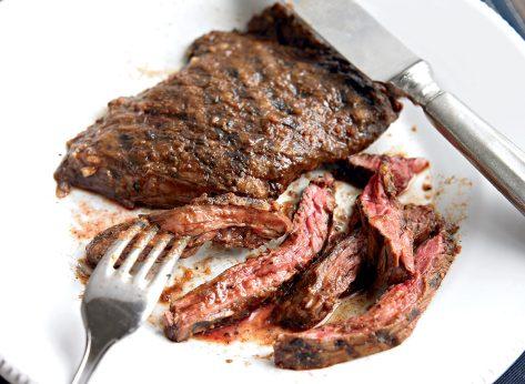 Healthy bloody mary skirt steak