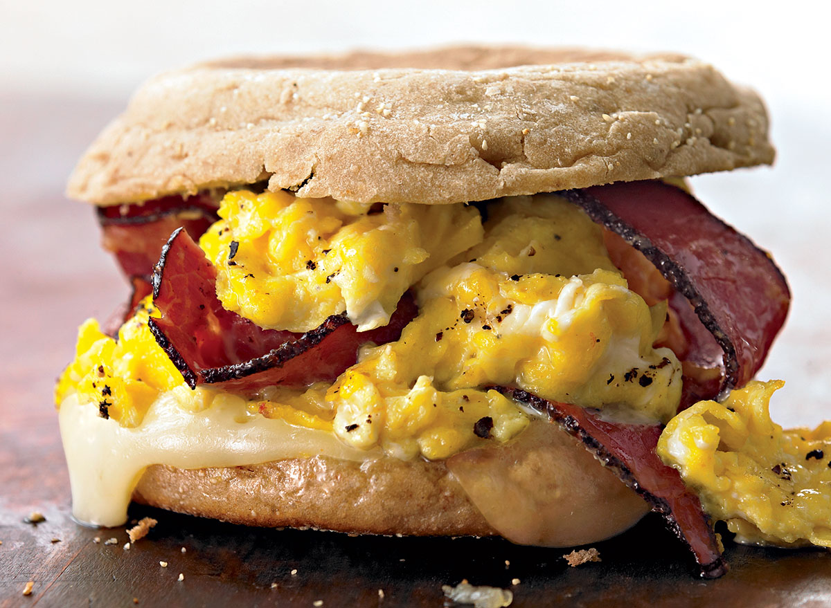 Egg sandwich with pastrami and swiss
