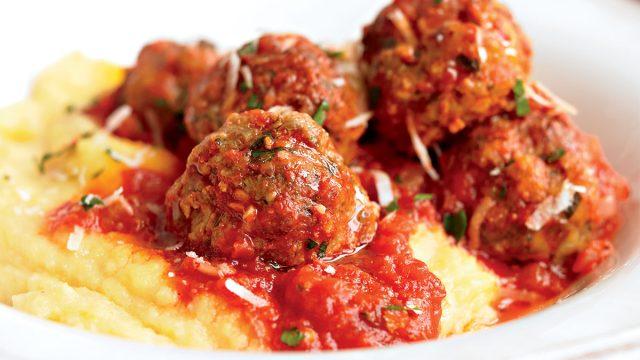 Healthy meatballs polenta