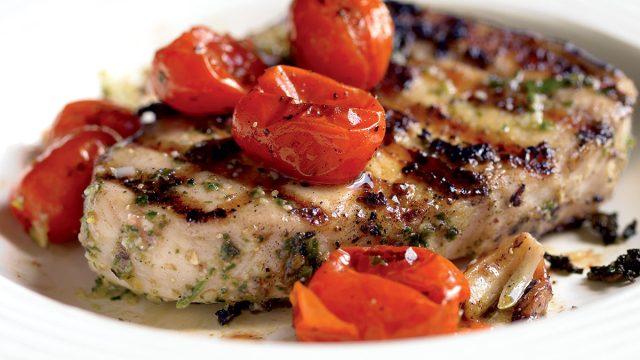 Healthy pesto swordfish