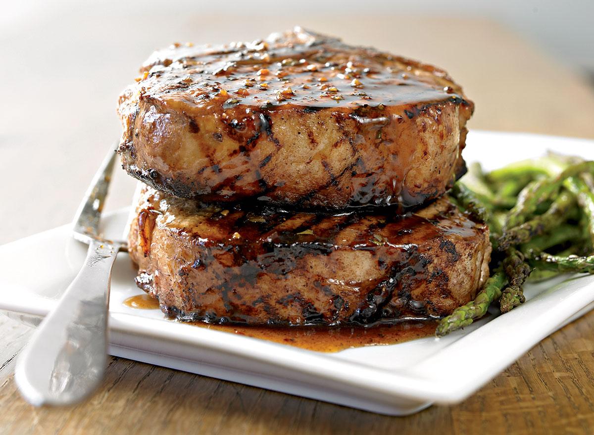 Healthy pork chop with balsamic honey glaze