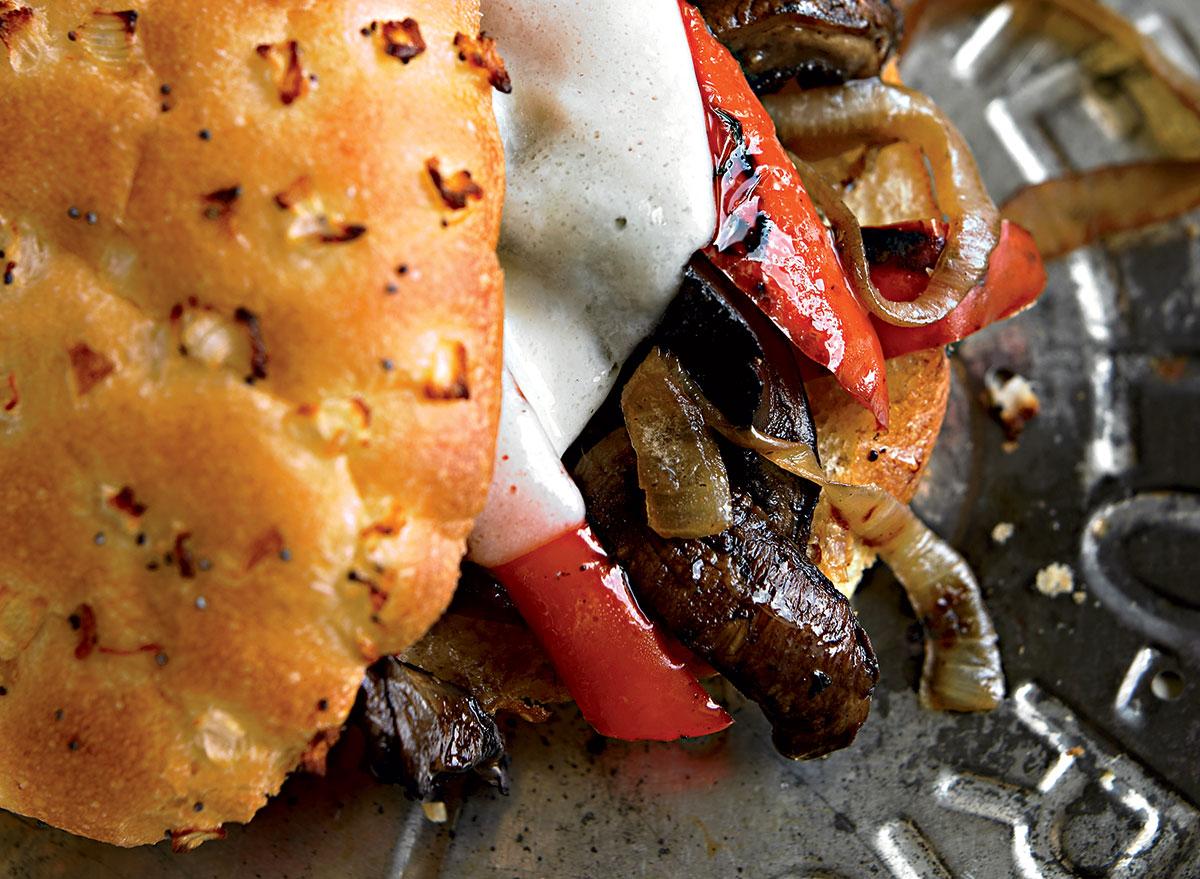 Healthy portobello cheesesteak