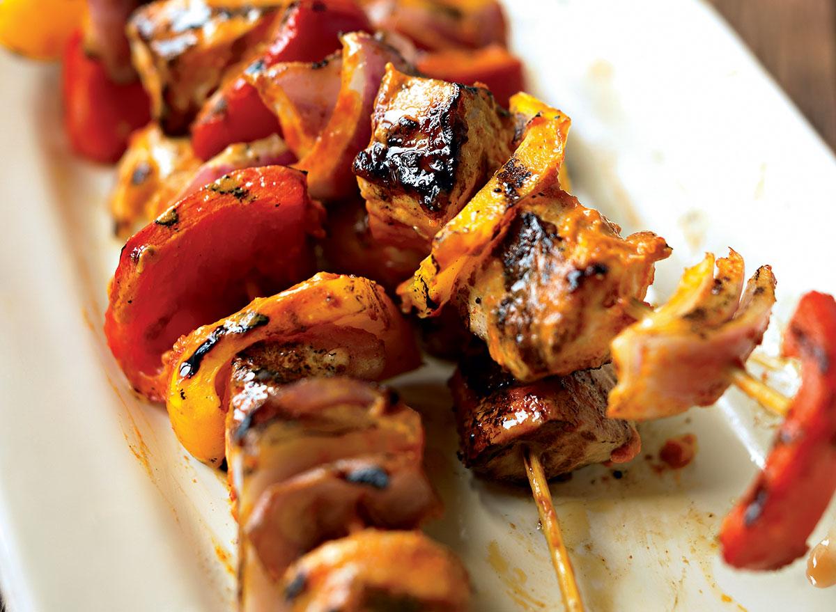 Healthy red curry pork kebab