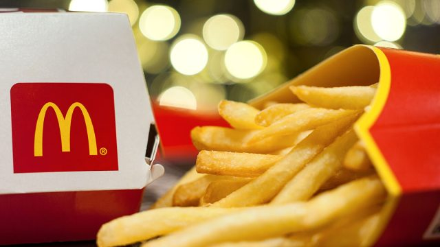 light in background of mcdonalds meal