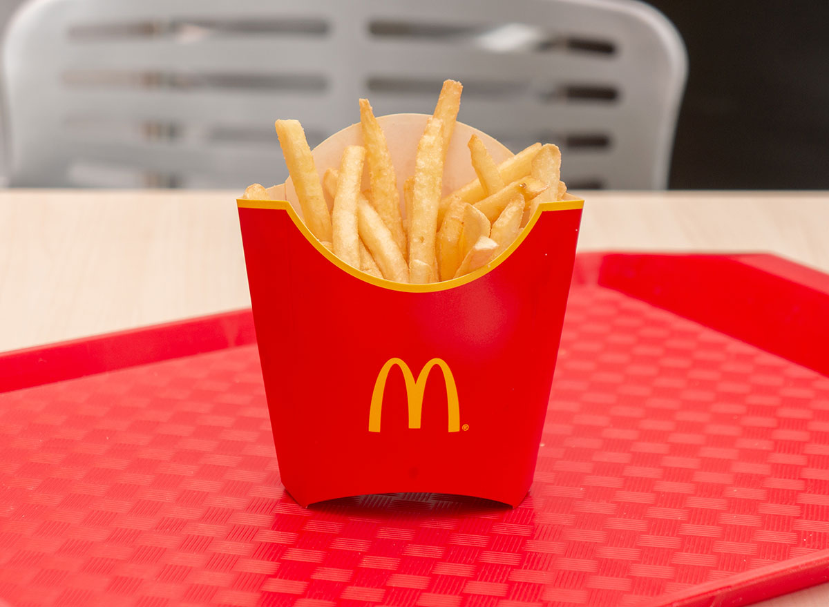 Mcdonald's french fries on red tray