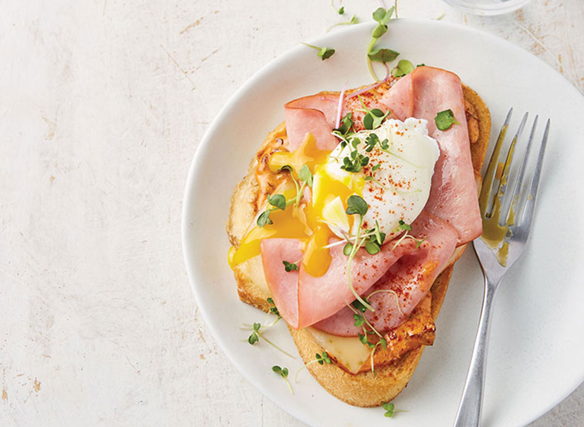 Open face hot ham and cheese with chipotle mayo