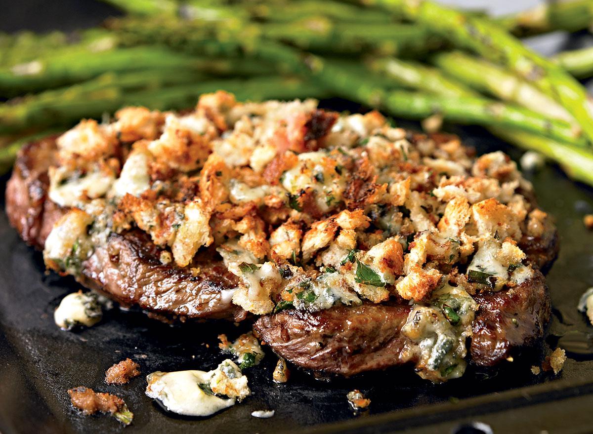 Paleo steak with blue cheese crust