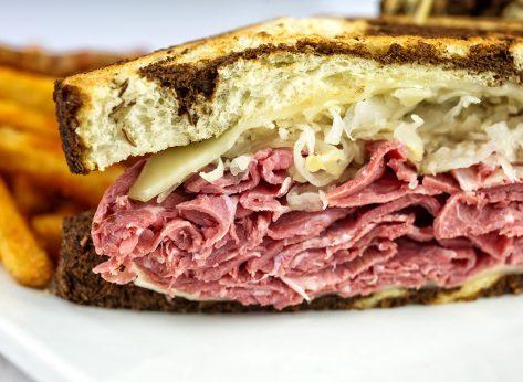 Reuben sandwich side view